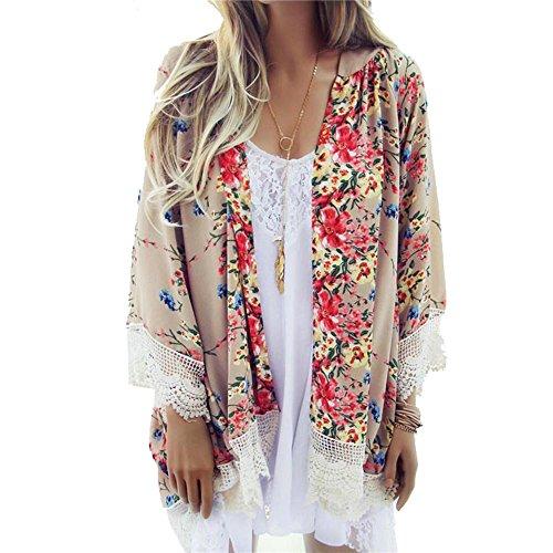Sondereu Blumen Kimono Chiffon, Cardigan Damen Flora Blumenblus Quasten Stoloen Mantel Jacke mit Schal Casual Lose Sommer (M)