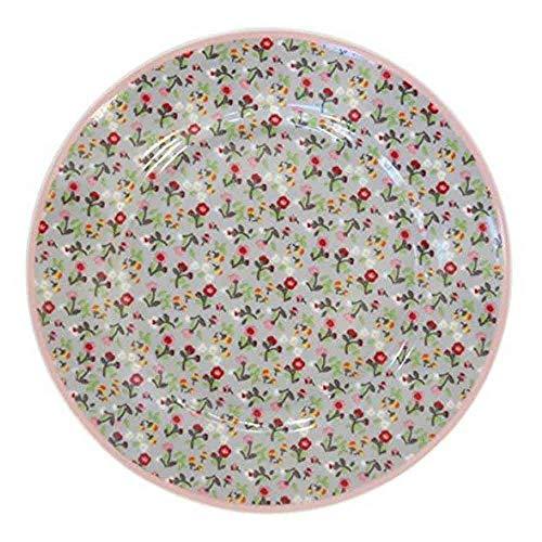 Krasilnikoff - Teller/Frühstücksteller/Dessertteller - Porzellan - grau/Mille Fleur - Ø 20,5 cm