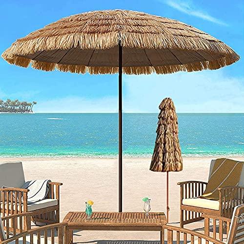 LANHA 2,4 M Sombrilla Hawaiana Sombrilla de Playa Sombrilla inclinable para Patio al Aire Libre Parasol de manivela, para jardín Piscina Patio (Color Natural)