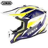 オートバイ用ヘルメット FidgetFidget SOMAN ユニセックスヘルメット アドバンスト オートバイ 完全に覆われたヘルメット オフロードセーフティヘルメットヘッドプロテクター 四季のユニバーサル ( 白/黄/青 XL)