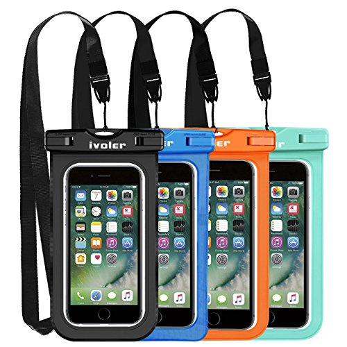 ivoler [IPX8 Certificado] [4 Unidades] Funda Bolsa Móvil Impermeable Universal para Xiaomi, iPhone, Samsung Galaxy, Huawei, Smartphones, Monedas, Pasaporte, etc. (Negro/Azul/Verde/Naranja)