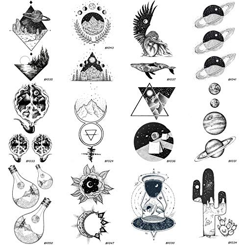 12 Pieces/Lot Creative Planets Star Temporary Tattoo Stickers Paper Men Funny Sun Men Women Tattoo Kids Custom Moon Cosmos Tatoos Supplies 10x6CM