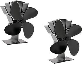 Fenteer Ventilador Automático De La Estufa De Leña Que Funciona con Calor para La Estufa De Leña/Calentador De Chimenea, con 4 Aspas, Vientos Fuertes, Calid