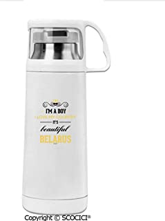 SCOCICI Stainless Steel Thermos Cup I Am A Boy I Love My Country It Is Beautiful Belarus Water Bottle Leak-Proof Double Walled Vacuum Insulated Travel Coffee Mug 12 OZ (350 ML)