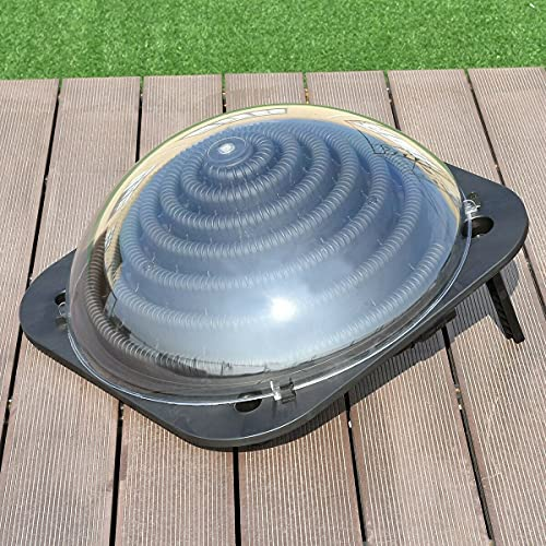 YUEWO Solar Dome Pool Heater for Inground and Above Ground Outdoor Swimming Pools Heating Panels with Connector, Black