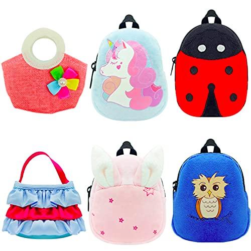 """Topoloar 6 Pack Mini Puppenrucksack Taschen Rucksack, Cartoon Puppe Handtasche Puppe Zubehör Schultasche Reißverschluss Design für 12""""-18"""" American Girl Dolls, 43cm Neugeborene Babypuppe"""