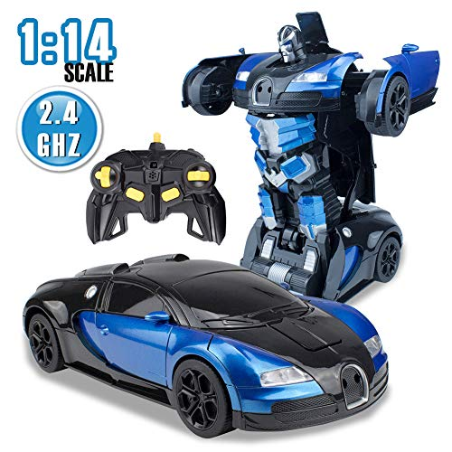 Samate Transform RC Car Robot for Kids Toy,Remote Control Robot Toys for Children,Gesture Sensing One-Button Deformed,1:14 Scale,Realistic Engine Sound,2.4GHz Stunt Car,Best Gift for Boys Girls(Blue)