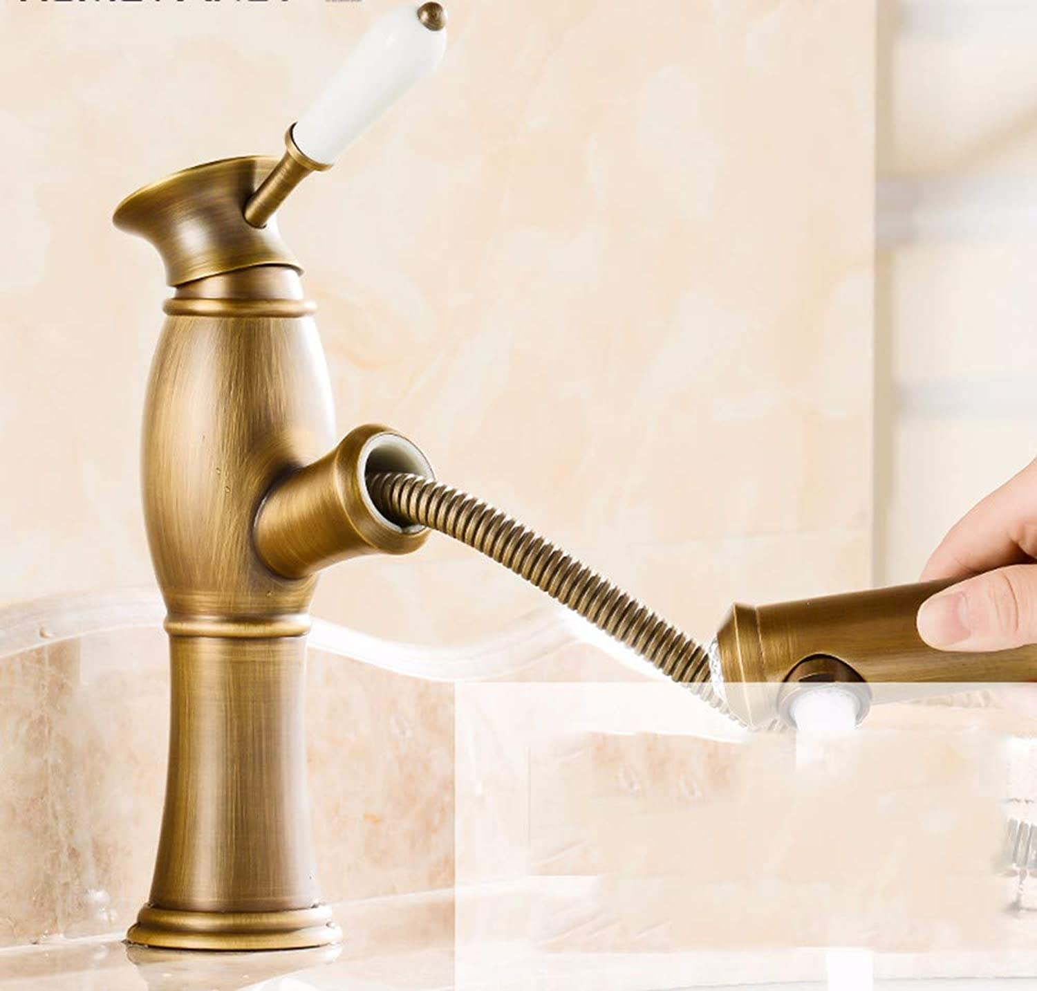 Bijjaladeva Antique Kitchen Sink Mixer Tap The Copper Out of The Vanity Area with hot and Cold Water Tank, redating Kitchen Faucet 3