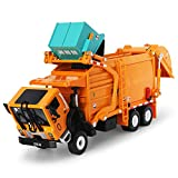 FUBARBAR Garbage Truck Toy Model 1:43 Scale Metal Diecast Recycling Clean Trash Garbage Rubbish Waste Transport Truck Alloy Model Car Toy with Garbage Cans Kids Birthday Party Supplies (Orange)