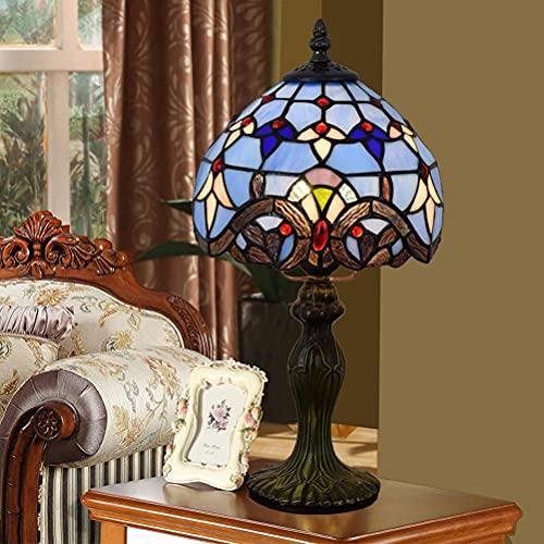 AWCVB Tiffany E27 Lámpara De Mesa Vintage Lámpara De Noche Habitación Retro Vidrio Lámpara De Escritorio Lámpara