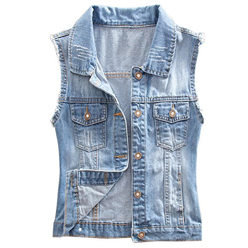 Eternal Women Winter Spring Cotton Sleeveless Jeans Denim Vest Jacket Outerwear Clothes (M, Vest-1)