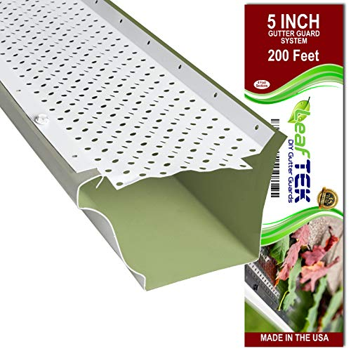 LeafTek 5' x 200' Gutter Guard Leaf Protection in White | DIY Premium Contractor Grade 35 Year Aluminum Covers | 32'/100'/200' Available in 5 or 6 Inch