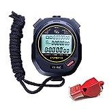 LAOPAO Cronometro, 60 Memoria 1/100 Secondi Precision con Funzione spegni e Muto Cronografo Timer per Palestra Pallacanestro Calcio Baseball Sport Outdoor