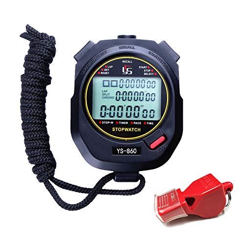 Cronómetro Deportes cronómetro Profesional Digital portátil 0.01 Segundo 60 Memoria Impermeable Cronómetro para Deportes al Aire Libre