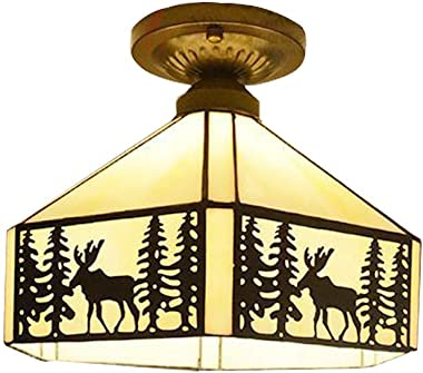 KWOKING Lighting Vintage Elk Pattern Ceiling Lighting Fixtures Tiffany Stained Glass Style Flush Mount Ceiling Light for Living Room, Hallway, Kitchen, Dining Room Bronze 11inch