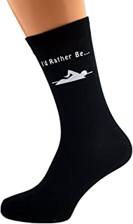 I'd Rather be Swimming with Swimmer Image Design Mens Black Cotton Rich Socks