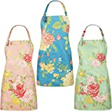 Jeere 3 Pieces Floral Aprons for Women Canvas Flower Apron Adjustable Kitchen Chef Aprons with Rose Pattern and Pockets Cute Birthday Thanksgiving Christmas Apron for Cooking Baking Gardening