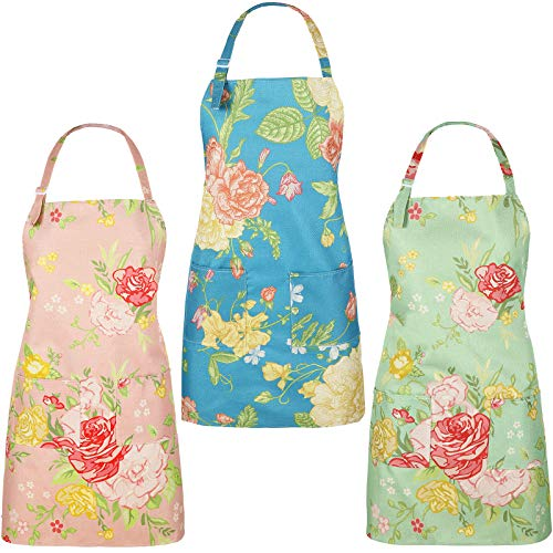 Jeere 3 Pieces Floral Aprons for Women Cotton Canvas Flower Apron Adjustable Kitchen Chef Aprons with Rose Pattern and Pockets Cute Birthday Thanksgiving Christmas Apron for Cooking Baking Gardening