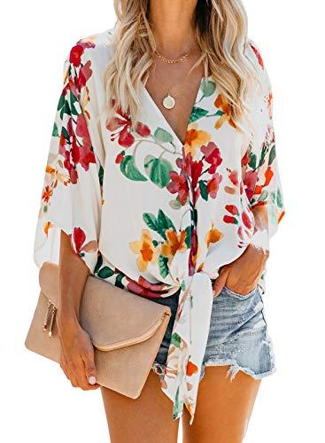 Arainlo Damen Langarm-Sweatshirt, Pullover, Tops, Blumenmuster, tiefer V-Ausschnitt,...