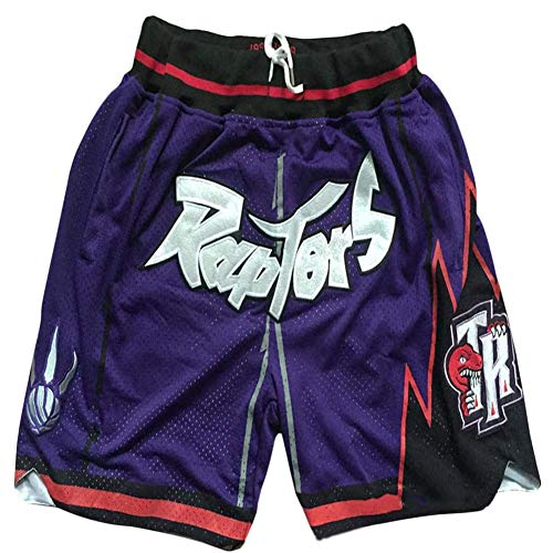 NBA Pantaloncini da Basket retrò con Ricamo retrò A Ricamo Segreto NBA Raptors con Laccetto, Non Si Sbiadisce, Non Si Restringe, Lavabile in Lavatrice,Viola,S