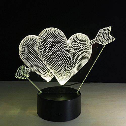 3D LED Illusion Licht, 3 Muster 7 Farben ferngesteuertes dimensionale Basketball Licht, optische Nachtlichter, Tischlampe Atmosphäre Dekoration, Kinder Geburtstagsgeschenke, Ein Pfeil durch das Herz