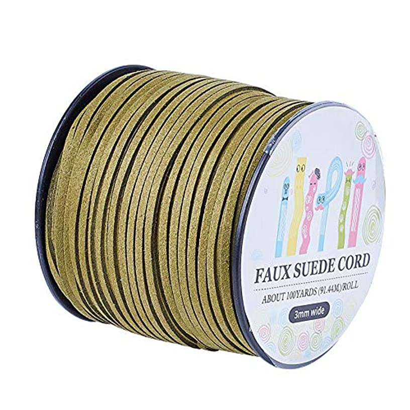 Pandahall 98Yard 90m/roll 3x1.4mm Faux Suede Cord String Leather Lace Beading Thread Suede Lace Double Sided with Roll Spool 295feet OliveDrab