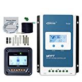 MPPT Solar Charge Controller 40A Max.PV 100V Negative Grounded Tracer 4210AN + Remote Meter MT50+Temp Sensor Cable for Gel Sealed Flooded Lithium Solar Battery Charging