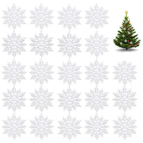 Ledoo Schneeflocken Weihnachtsbaum 24Pcs Ornamente Schneeflocke für Weihnachtsbaum Plastik Weihnachts-Anhänger Weihnachtsdeko Fensterdeko Weiße (10cm)
