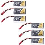 Tattu 6pcs 3.7V 800mAh 25C 1S Batería LiPo JST Plug para Quadcopters Dron MJX X400 X400W X800 X300C X200 X500