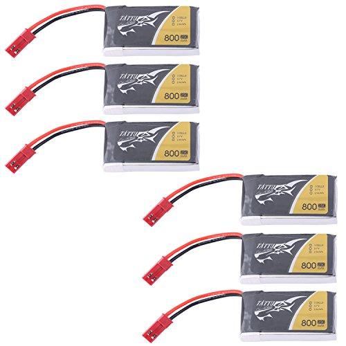 Tattu 6pcs 3.7V 800mAh LiPo Akku 25C 1S mit JST Stecker für MJX X400 X400W X800 X300C X200 X500 RC Quadcopter Teile Drone