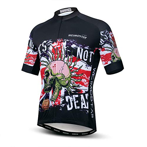 Weimostar Cycling Jersey Men Road Bike Shirts Tops Short Sleeve MTB Clothing Full Zipper Bicycle Jacket Reflective Breathable Skull Size L