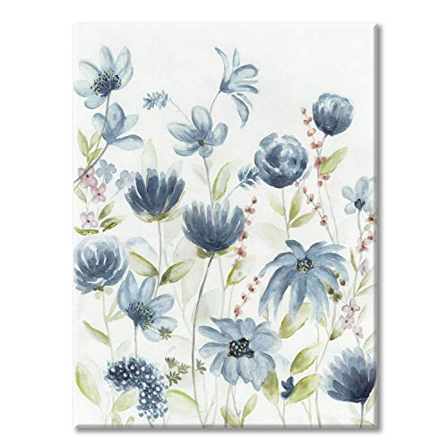 Watercolor Floral Canvas Wall Art: Modern Artwork Blue Wildflower Picture Hand Painting Canvas Art for Bedroom (18'' x 24'' x 1 Panel)