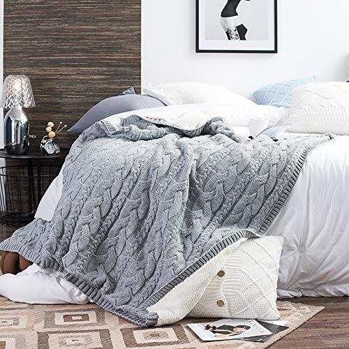 Strickdecken Dickes Garn aus Merinowolle Sperrige Decke for Erwachsene warme Winterschlafsofa Start Wirft Decke XXYHYQHJD (Color : Grau, Size : 130x160)