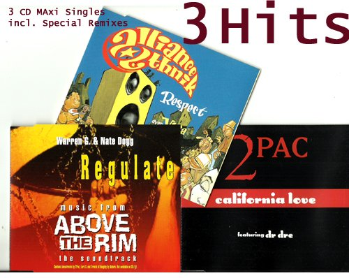 (1994/95) The Best 90s Rap & Funk: 3 CD Singles in 1 Package: Warren G & Nate Dogg, 2Pac & Alliance Ethnik (CD Single Collection, 12 Tracks) Respect (funky funky), California Love, Regulate, Pain, Mi Monie Rite, Loyal To The Game u.a.