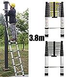 3,8m aluminio telescópico escalera de extensión extensible para Loft oficina en casa 13paso