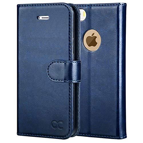 OCASE iPhone 5S Hülle, Handyhülle iPhone SE (1.Gen 2016) Tasche Flip Hülle Cover Schutzhülle [Premium Leder] [Standfunktion] [Kartenfach] [Magnetverschluss] für iPhone 5S SE (1.Gen 2016) 5 Blau