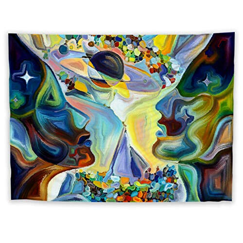AdoDecor Tapiz Colorido Tapiz Abstracto Arte Colgante de Pared Mesa Cubierta de Cama decoración del hogar 150x130cm/59 * 51 Pulgadas