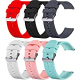 RuenTech Compatible with Garmin Vivoactive 4 Band Silicone Straps Sport Wristband for Vivoactive 4 Watch Band (Not for Vivoactive 3) (Black/Red/White/Gray/Pink/Teal, Small)