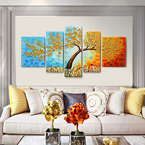Extra Large Wall Art 100% Hand-Painted Oil Painting on Canvas 3D Colorful Tree Artwork Palette Knife Impasto Texture 5 Pieces Abstract Golden Paintings for Living Room Bedroom Office Décor