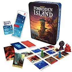 A picture of the Forbidden Island board game box and contents.