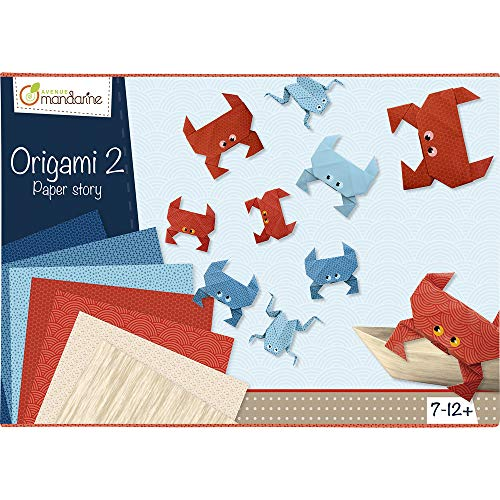 Avenue Mandarine 42721O - Une boite créative Origami Initiation n°2 comprenant 40 feuilles de papier origami, une planche de stickers et 10 modèles de pliage