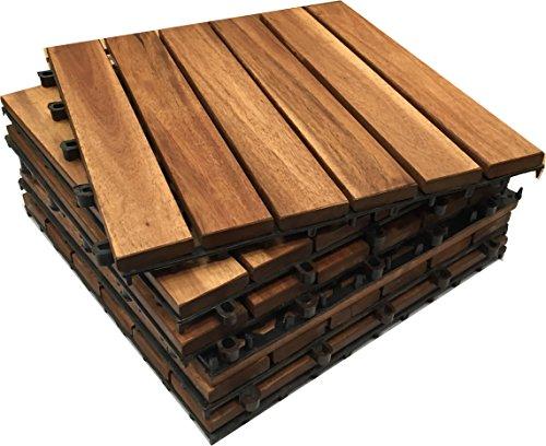 CLICK-DECK Le FAMOSE piastrelle Click-Deck per pavimentazione di esterni IN LEGNO MASSICCIO – Patio, Balcone, Terrazza, Pavimentazione per vasca idromassaggio (12x piastrelle in legno massiccio)