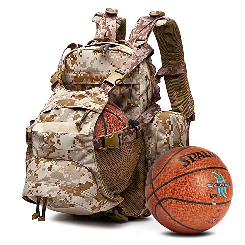 ACCDUER Basketball Rucksack Sports Bag, Water Resistant Casual Walking Travel Day Pack, Best for Soccer, Volleyball, Swim, Gym, Travel, Camouflage Khaki