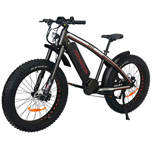 """Addmotor Wildtan Electric Mountain Bike 1000W Mid Drive Motor, 26""""x 4.5"""" Fat Tire Snow E-Bikes Men, 48V 17.5Ah Battery Powered M-5600 Hunting Electirc Bicycles for Adult, Shimano 9-Speed Gears,Black"""