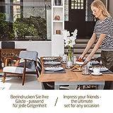 Miqio® - Design Tischset aus Filz   Marken Label aus echtem Leder   6er Set Platzset (dunkel grau anthrazit) abwaschbar   Filzmatte Tisch Untersetzer Platzdeckchen abwischbar - 3