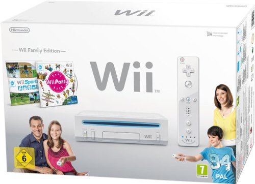 Nintendo Wii - Console Wii Family Edition, Bianca + Wii Sports + Wii Party + Telecomando Wii Plus + Nunchuck [Bundle]