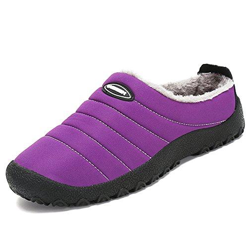SAGUARO® Invierno Al Aire Libre Zapatillas Caliente Slippers Interior Suave Algodón Zapatilla Mujer Hombres Casa Zapatos, Morado 40