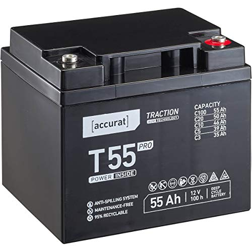 Accurat 12V 55Ah AGM Blei-Akku zyklenfeste Versorgungsbatterie Traction T55 Pro wartungsfrei