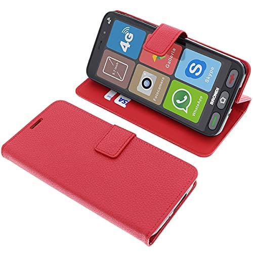 foto-kontor Custodia a Libro per Brondi Amico Smartphone S Nero di Colore Rosso