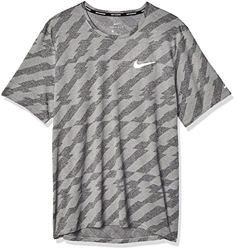NIKE Camiseta para Hombre DF Miler SS FF Jac Negro, Gris y Plateado Reflectante L